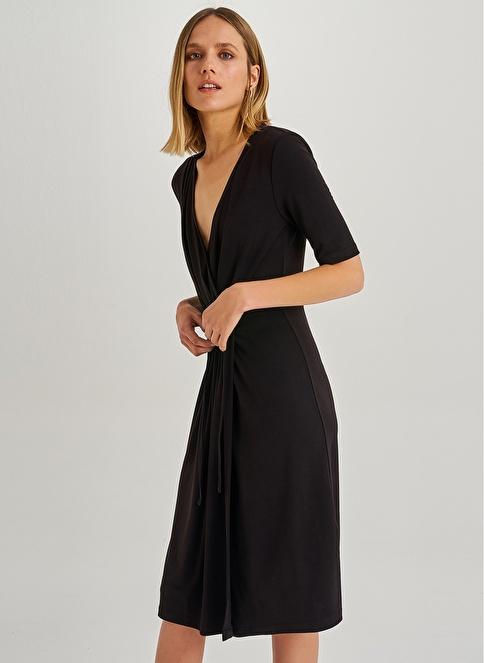People By Fabrika Büzgü Detaylı Elbise Siyah